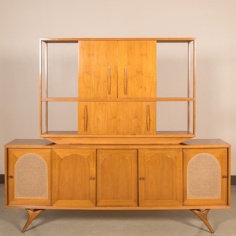 Mid Century Two Part Credenza