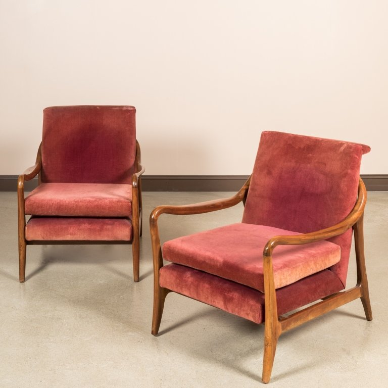 Pair Sculpted Arm Walnut Lounge Chairs
