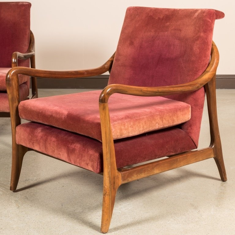 Pair Sculpted Arm Walnut Lounge Chairs - 2