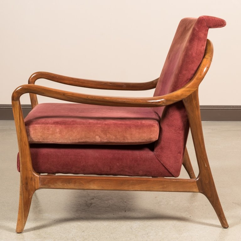 Pair Sculpted Arm Walnut Lounge Chairs - 5