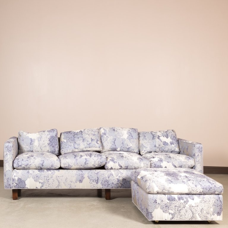 Mid Century Floral Sofa and Ottoman