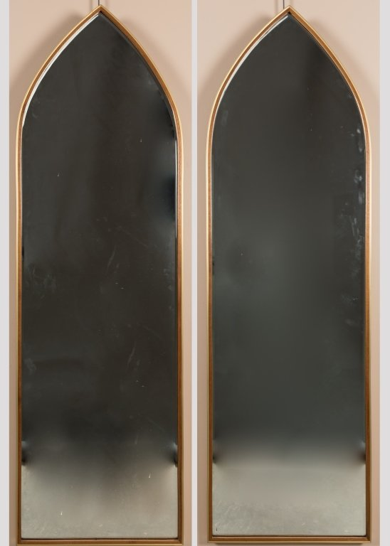 Pair Shield Shaped Teak and Brass Mirrors