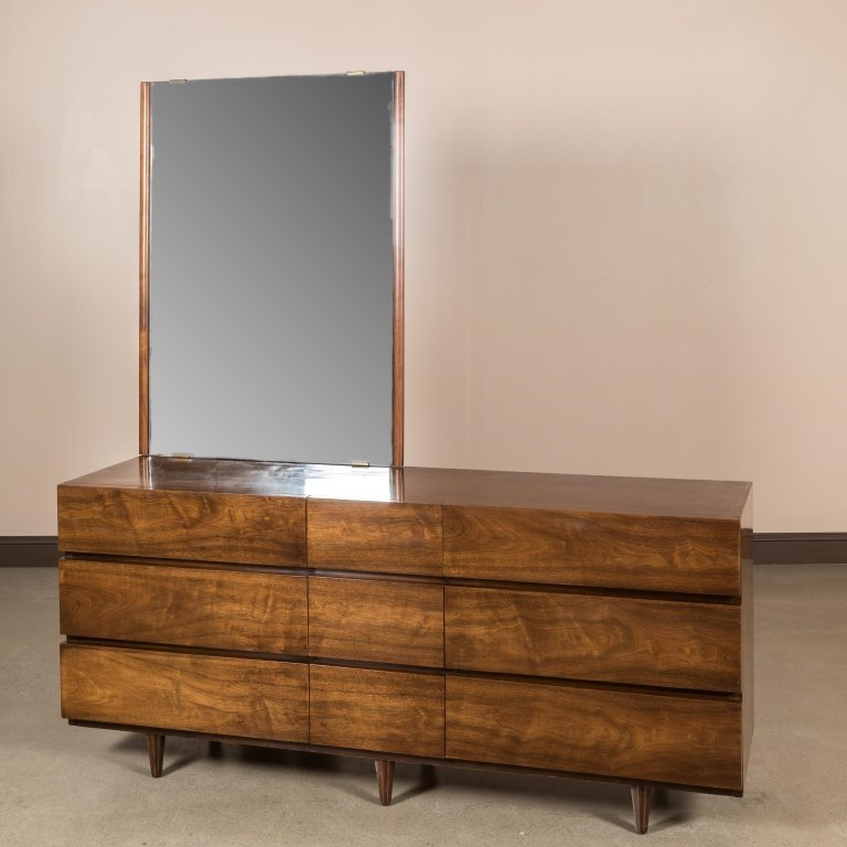 American of Martinsville Long Dresser and Mirror