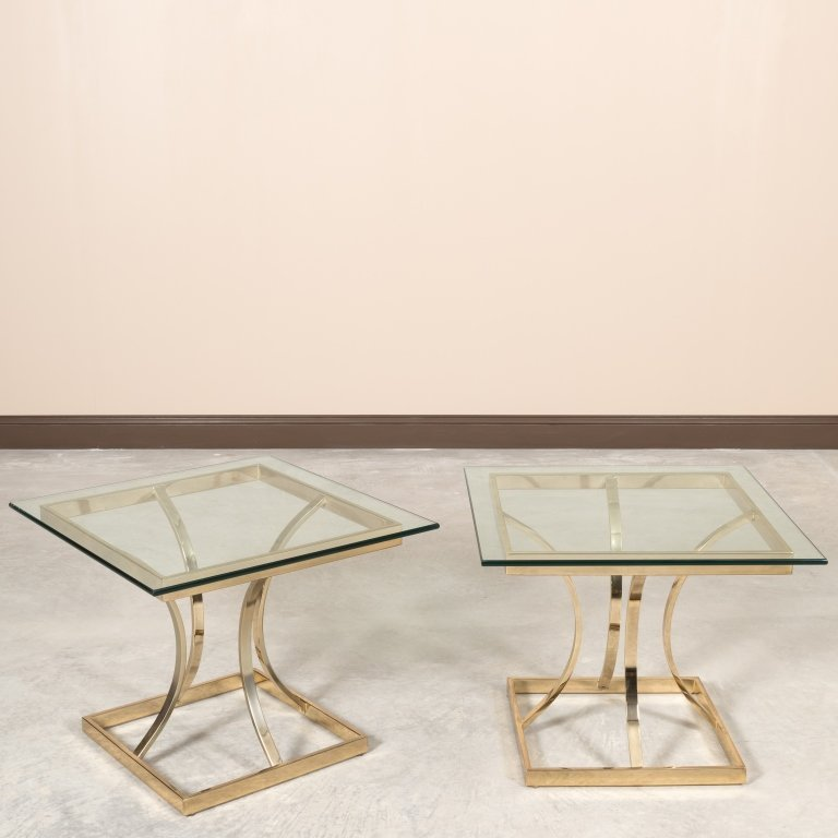 Pair Mid Century Brass and Glass End Tables