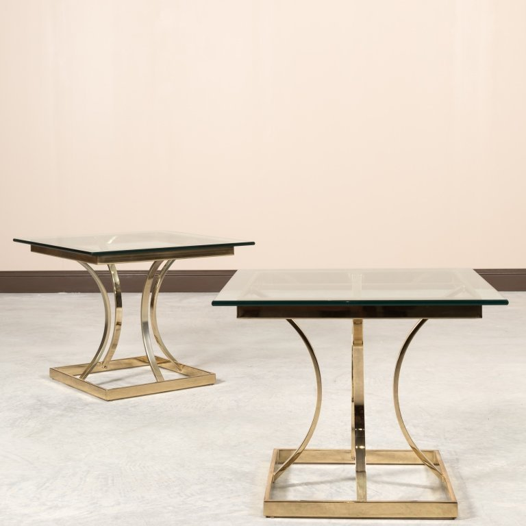Pair Mid Century Brass and Glass End Tables - 2