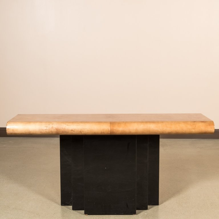 Goatskin and Lacquer Console Table - Aldo Tura