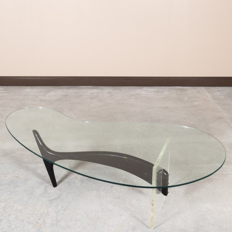Kagan Style Lucite and Wood Kidney Coffee Table