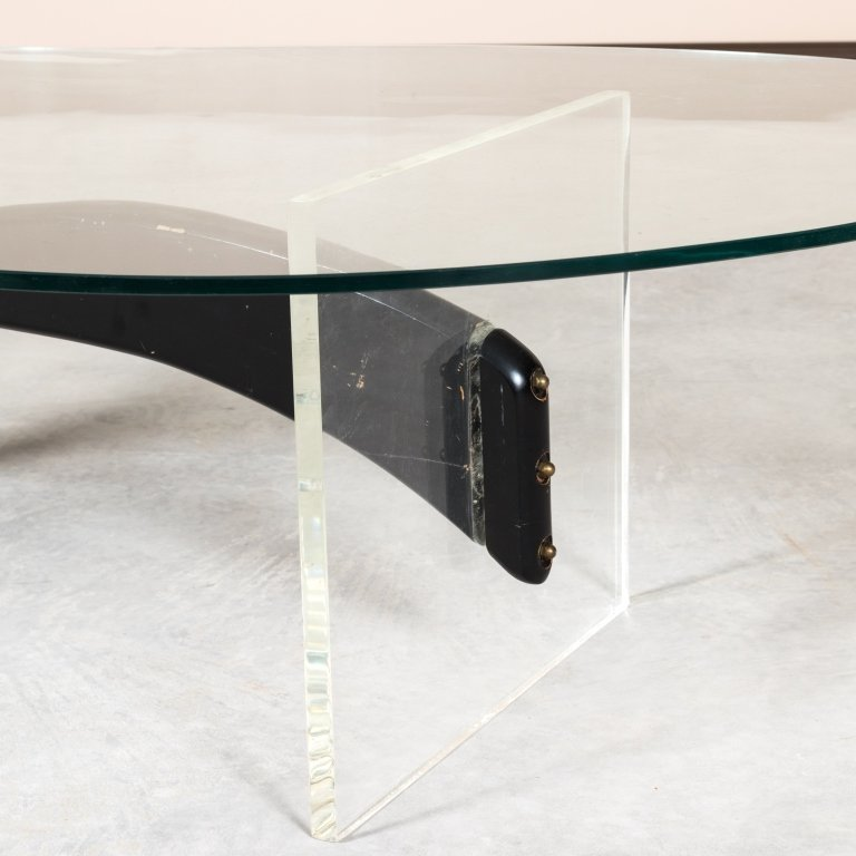 Kagan Style Lucite and Wood Kidney Coffee Table - 2