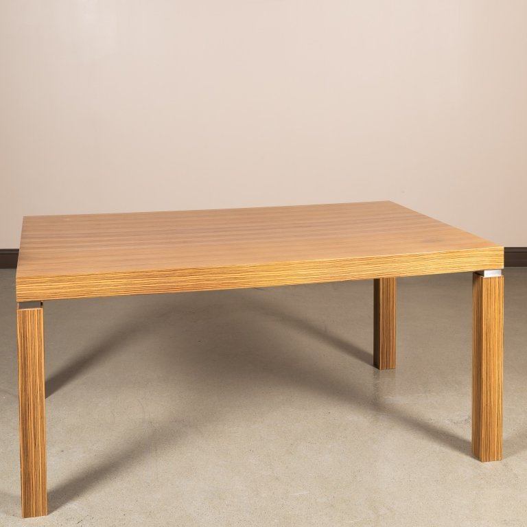 Zebrawood Veneer and Chrome Dining Table