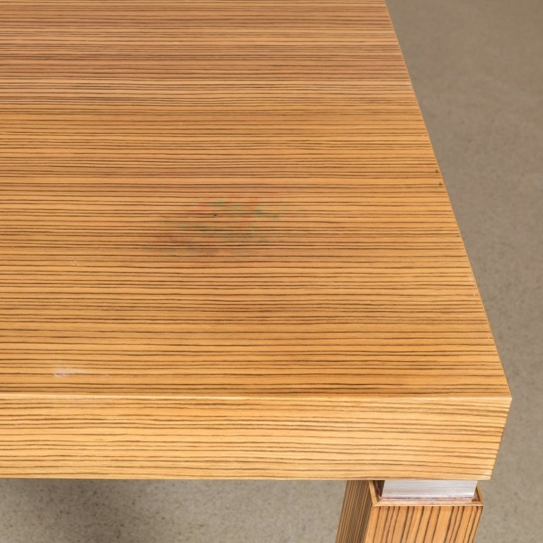 Zebrawood Veneer and Chrome Dining Table - 3