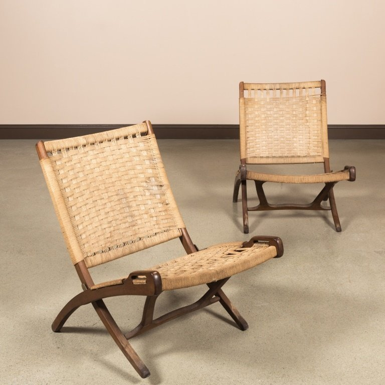 Pair Rope and Wood Folding Chairs - Hans Wegner