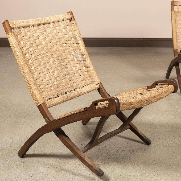 Pair Rope and Wood Folding Chairs - Hans Wegner - 2