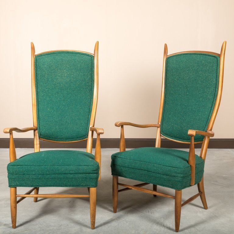 Pair Edward Wormley Dunbar Style Lounge Chairs