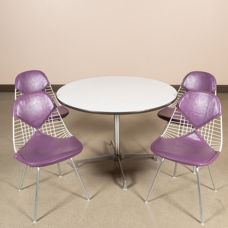 Four Eames Bikini Chairs with Herman Miller Table