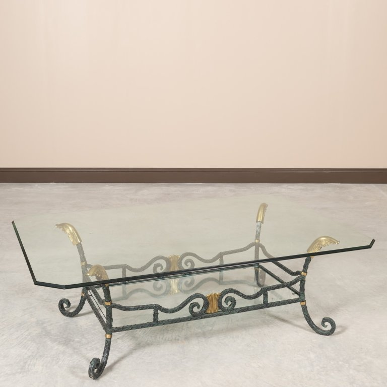 Karges Iron, Brass and Glass Coffee Table