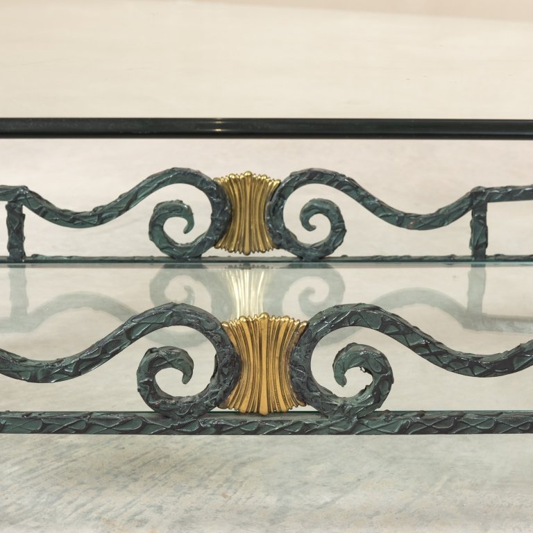 Karges Iron, Brass and Glass Coffee Table - 2