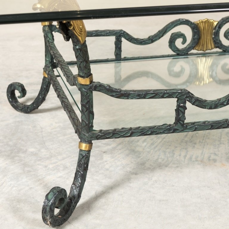 Karges Iron, Brass and Glass Coffee Table - 3
