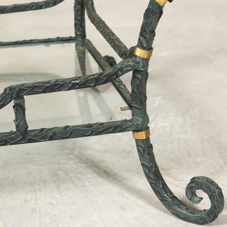 Karges Iron, Brass and Glass Coffee Table - 4