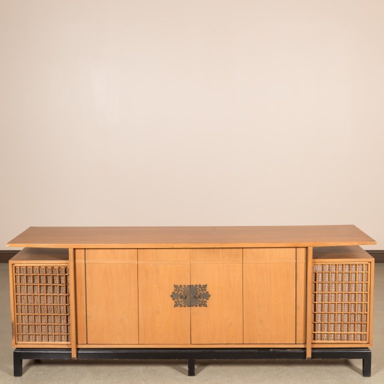 Chinese Modern Credenza with Rattan Doors