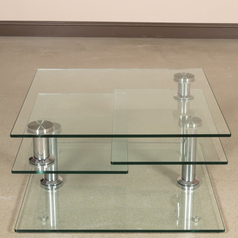 Three Tiered Revolving Glass Cocktail Table - 2