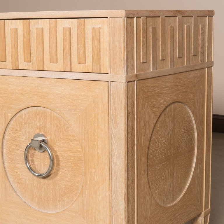 Cerused Oak Hollywood Regency Credenza - 3