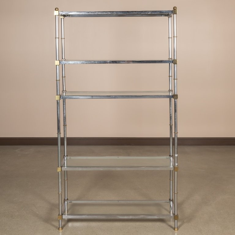 Chrome, Brass and Glass Faux Bamboo Etagere