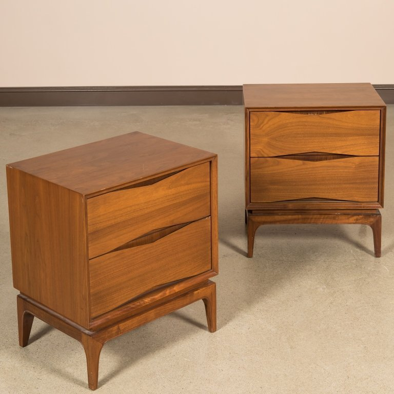 Pair Walnut Diamond Faced Nightstands
