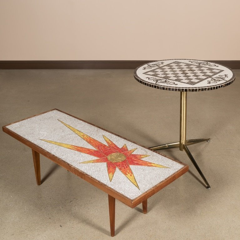 Two Tile-Top Tables - Coffee and Cafe Tables