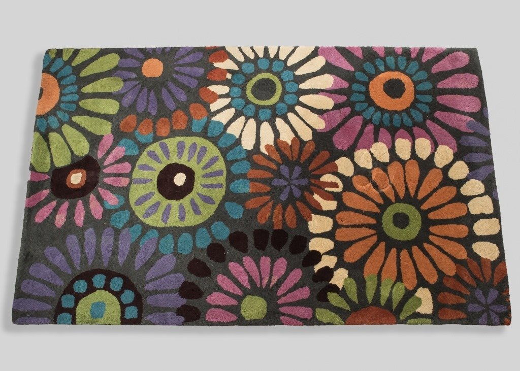 Mid Century Style Flower Rug