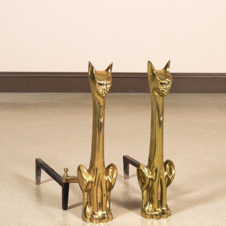 Pair Modernist Brass Cat Andirons