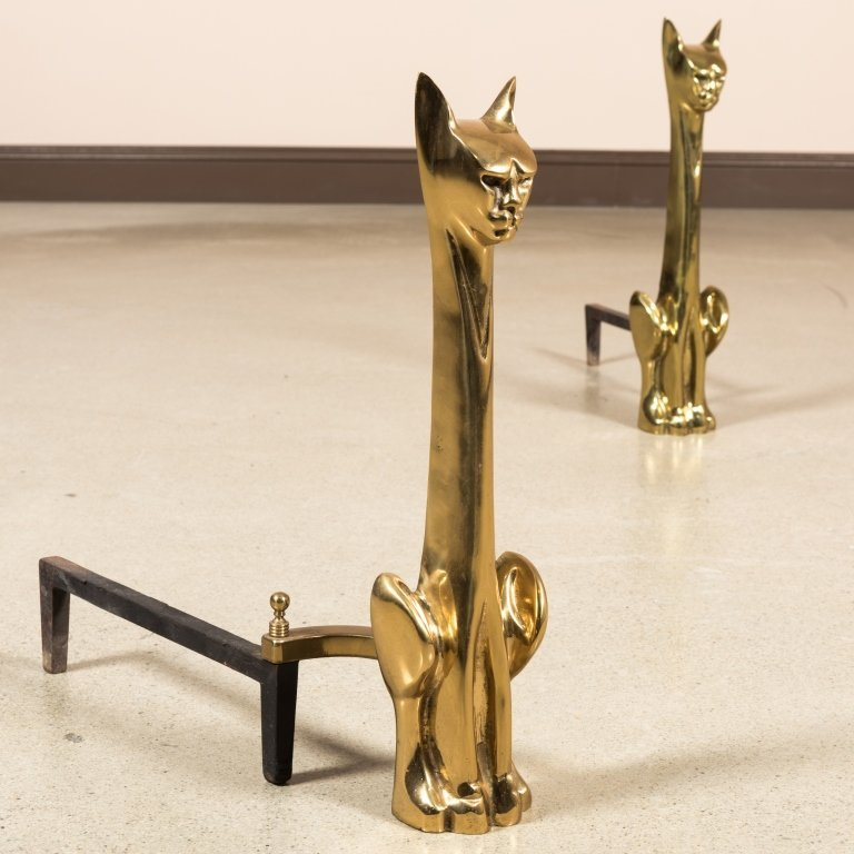 Pair Modernist Brass Cat Andirons - 2