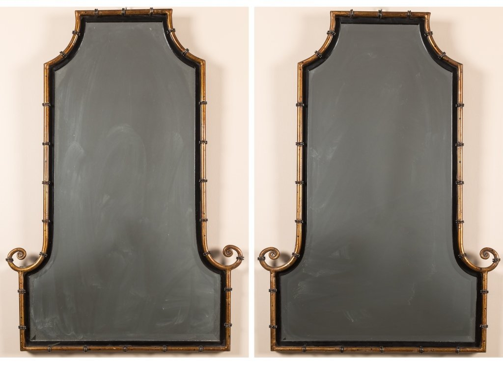 Pair Faux Bamboo Gilt Metal and Iron Mirrors
