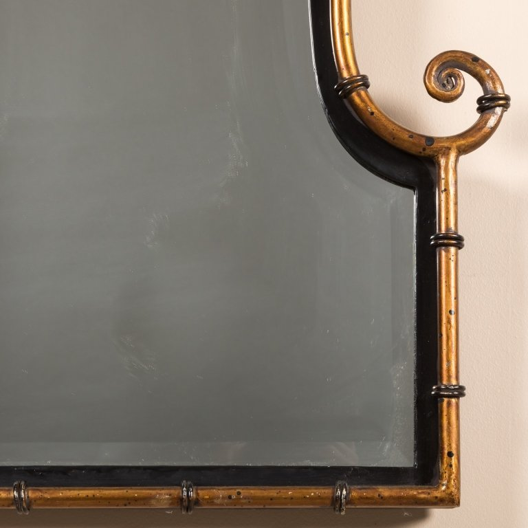 Pair Faux Bamboo Gilt Metal and Iron Mirrors - 2