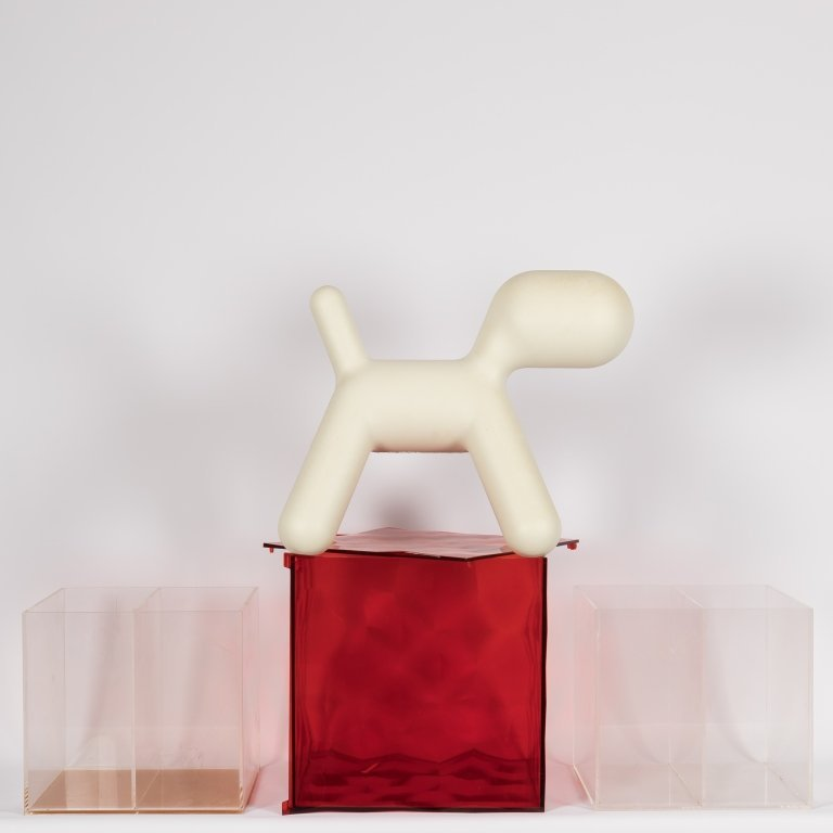 Three Lucite Boxes, Magis Dog and Chrome Bookends