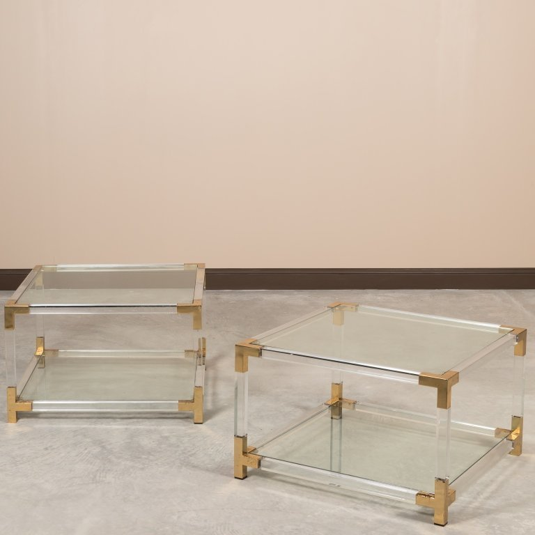 Pair Charles Hollis-Style Lucite and Brass Tables