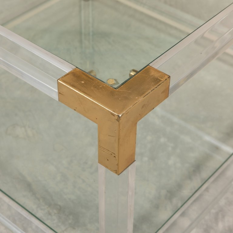 Pair Charles Hollis-Style Lucite and Brass Tables - 2