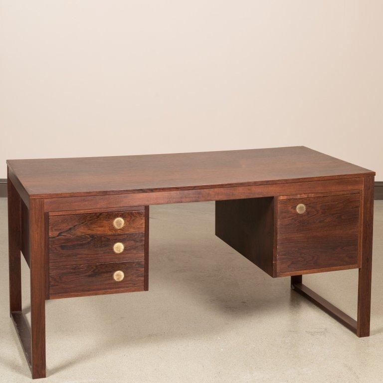 Dyrlund Rosewood Desk with Brass Pulls