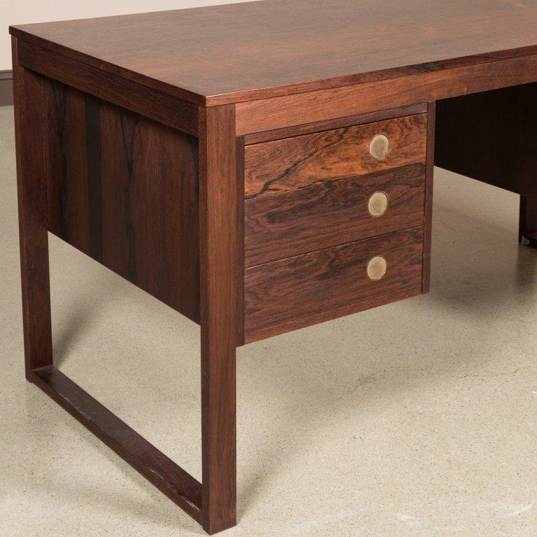 Dyrlund Rosewood Desk with Brass Pulls - 2