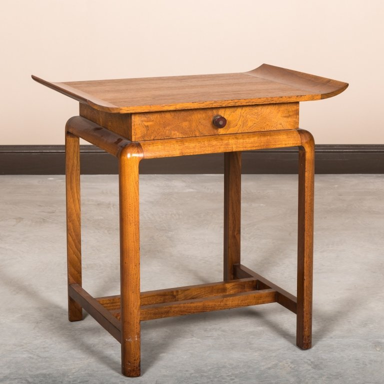 Walnut One Drawer Chinese Stand - Gilbert Rohde
