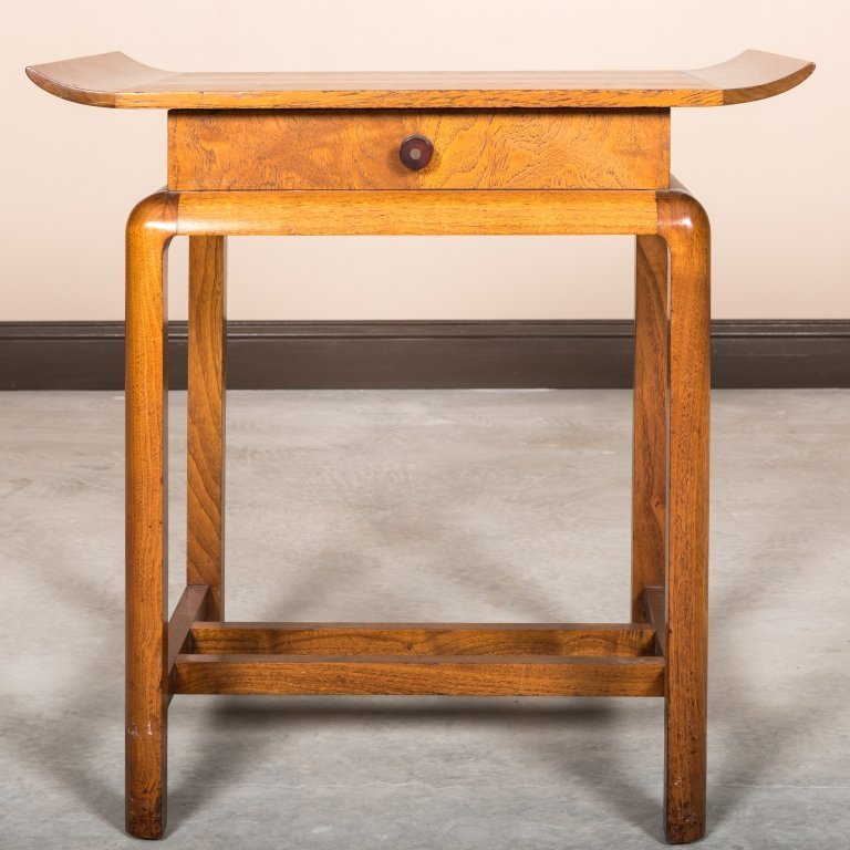 Walnut One Drawer Chinese Stand - Gilbert Rohde - 2