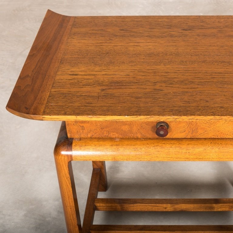 Walnut One Drawer Chinese Stand - Gilbert Rohde - 3