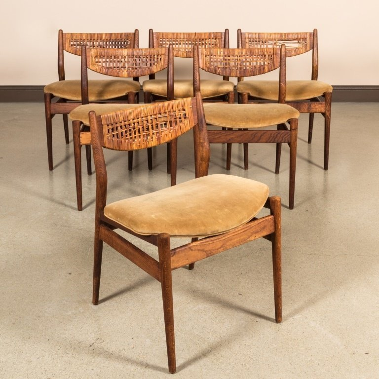 Six George Farrier Teak and Rattan Chairs