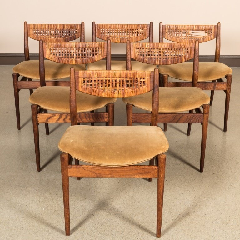 Six George Farrier Teak and Rattan Chairs - 2