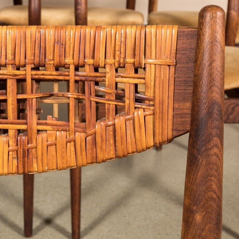Six George Farrier Teak and Rattan Chairs - 4