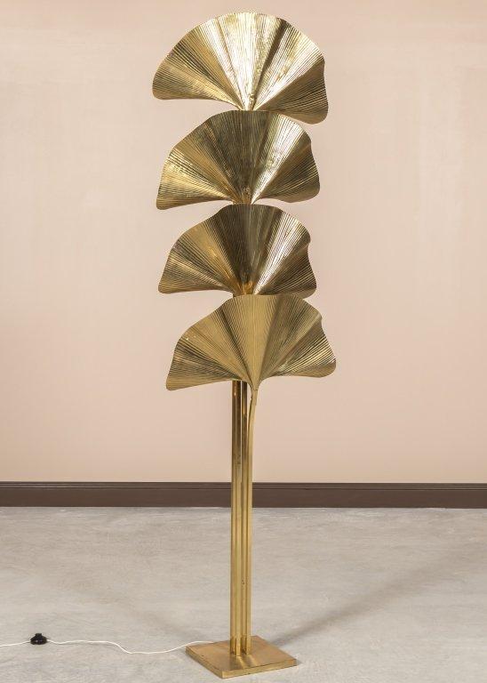 Tommaso Barbi Brass Ginko Floor Lamp
