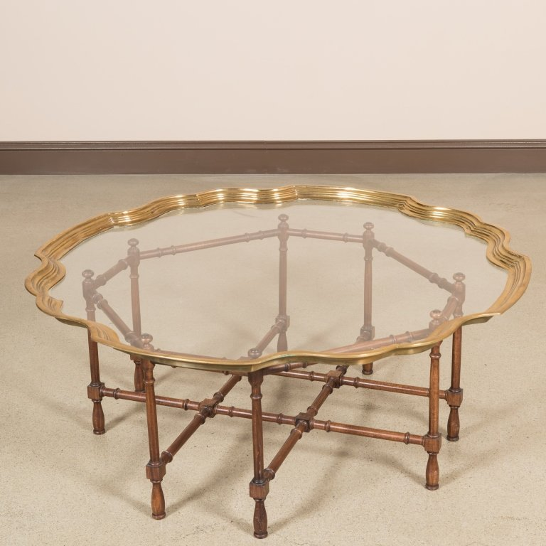 Chippendale Style Brass Tray Top Cocktail Table