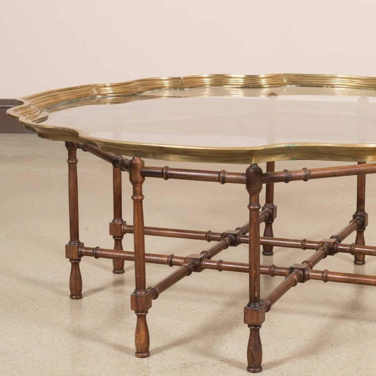 Chippendale Style Brass Tray Top Cocktail Table - 2