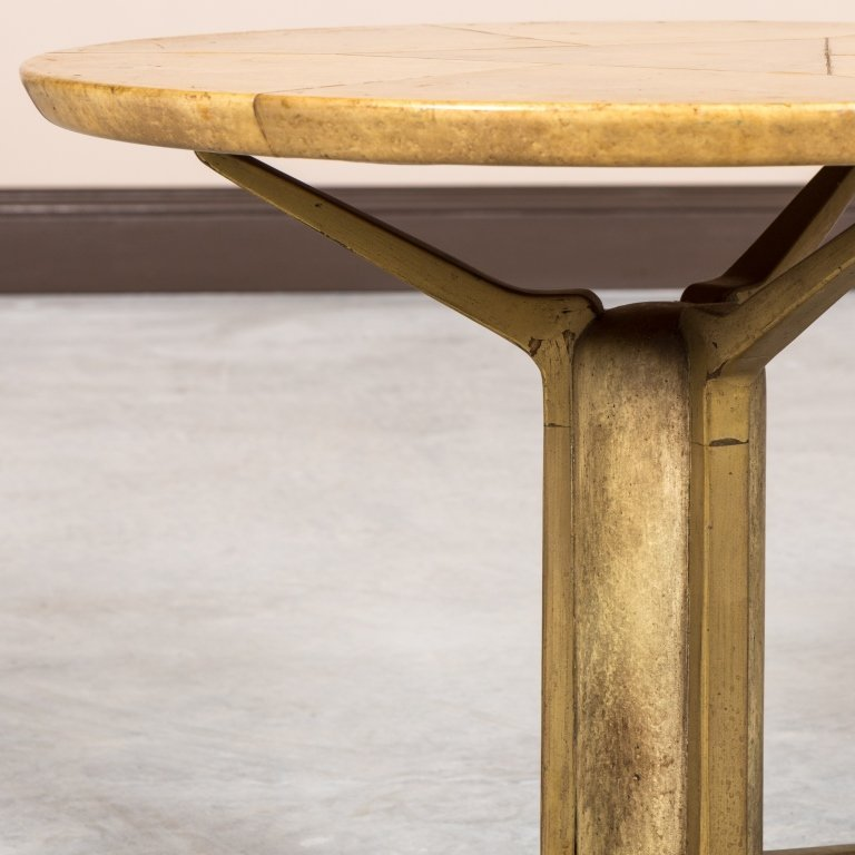 Bronze and Faux Skin Modern Tripod End Table - 2