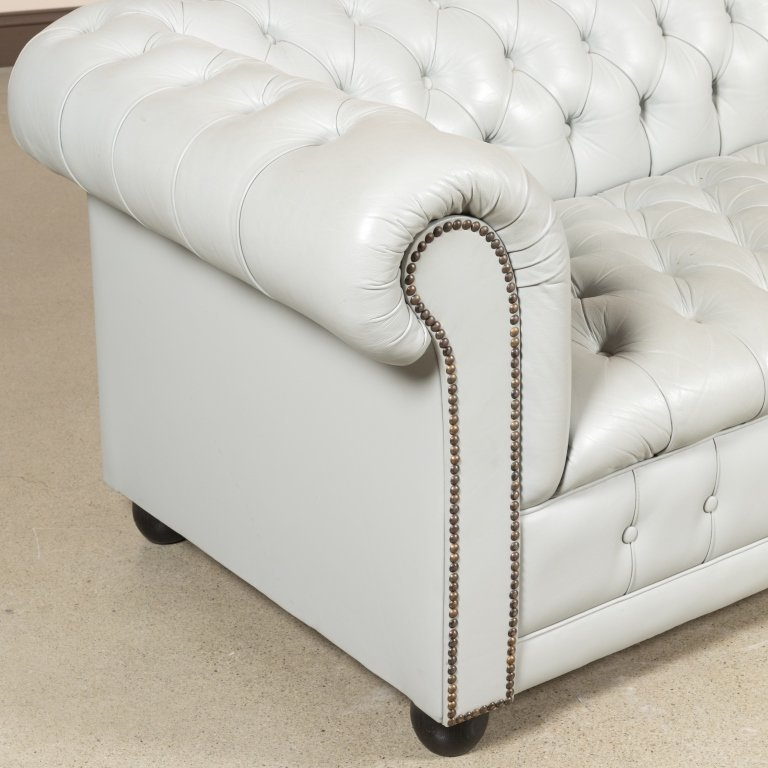 Gray Leather Chesterfield Love Seat - 2