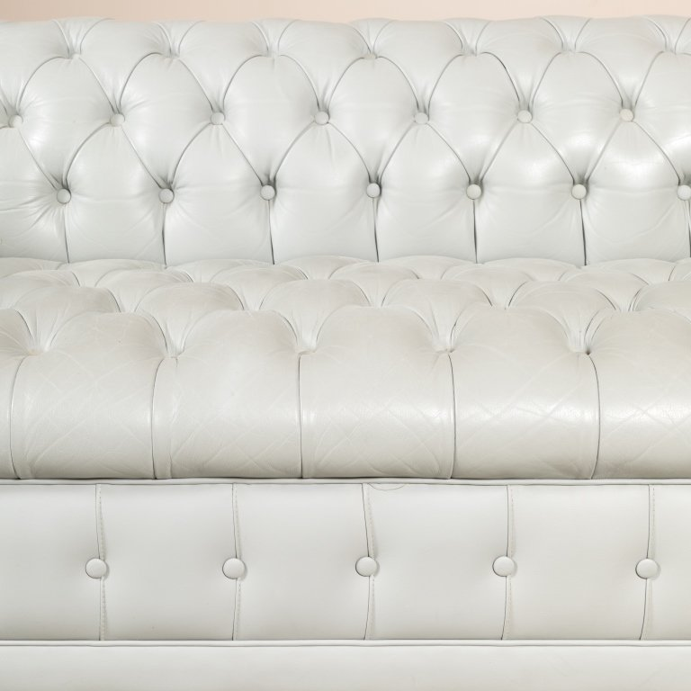 Gray Leather Chesterfield Love Seat - 3